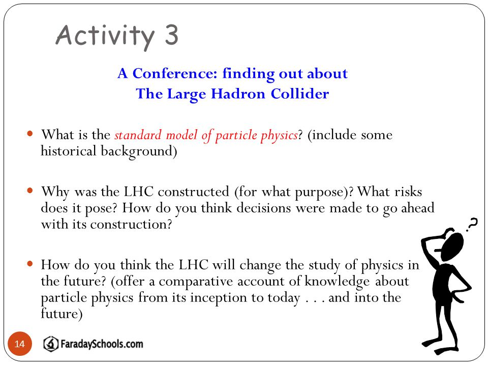 Activity 3 14 A Conference: finding out about The Large Hadron Collider What is the standard model of particle physics.