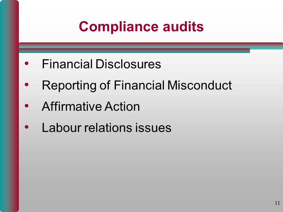11 Compliance audits Financial Disclosures Reporting of Financial Misconduct Affirmative Action Labour relations issues