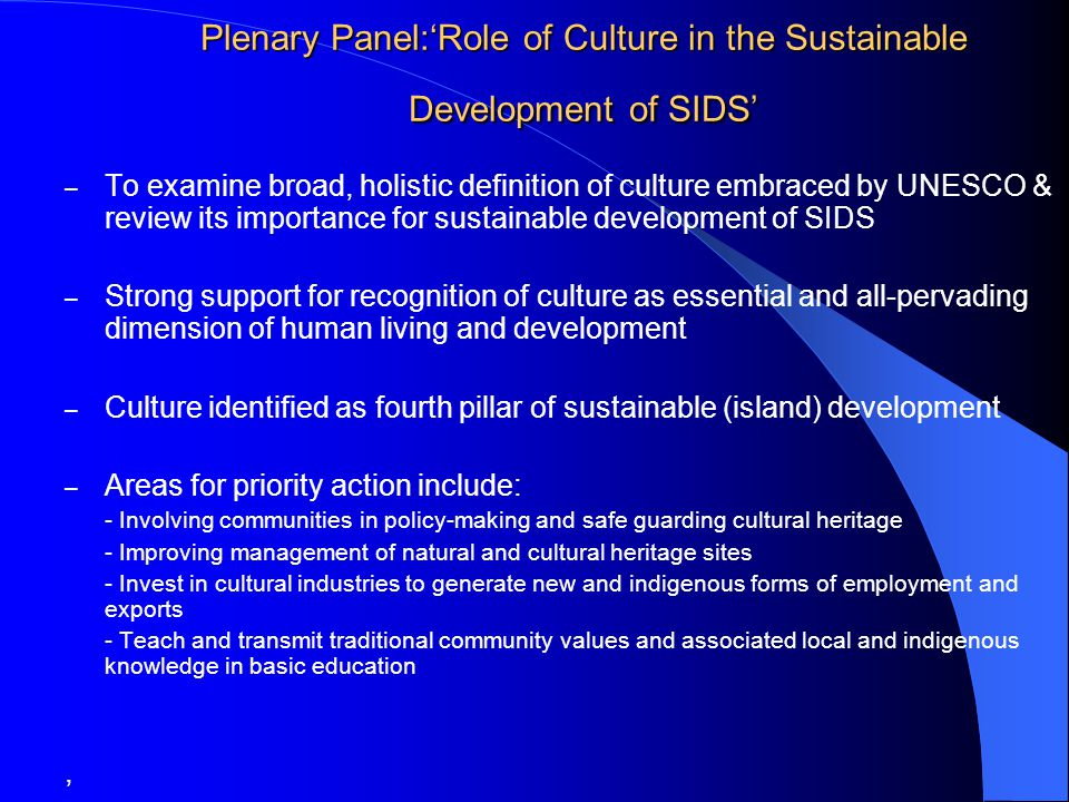 Plenary Panel:'Role of Culture in the Sustainable Development of SIDS' – To examine broad, holistic definition of culture embraced by UNESCO & review its importance for sustainable development of SIDS – Strong support for recognition of culture as essential and all-pervading dimension of human living and development – Culture identified as fourth pillar of sustainable (island) development – Areas for priority action include: - Involving communities in policy-making and safe guarding cultural heritage - Improving management of natural and cultural heritage sites - Invest in cultural industries to generate new and indigenous forms of employment and exports - Teach and transmit traditional community values and associated local and indigenous knowledge in basic education, Video on CD & web.