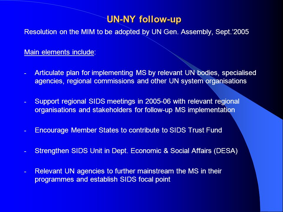 UN-NY follow-up Resolution on the MIM to be adopted by UN Gen.