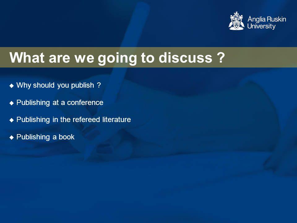 So why consider publishing .