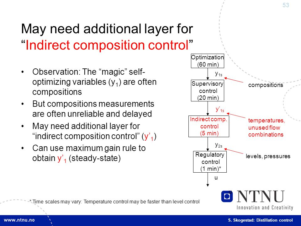 "53 S. Skogestad: Distillation control May need additional layer for ""Indirect composition control"" Observation: The ""magic"" self- optimizing variables"