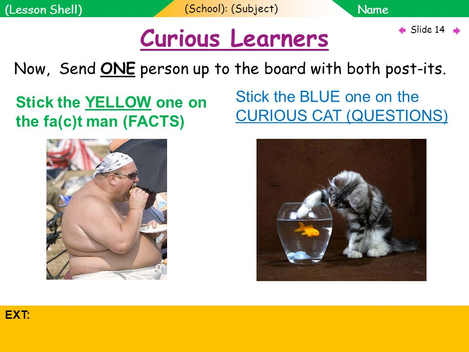 (School): (Subject) Name Objectives: Slide 14 (Lesson Shell) SOW Assessment focus: 1.