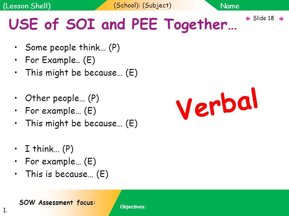 (School): (Subject) Name Objectives: Slide 18 (Lesson Shell) SOW Assessment focus: 1.