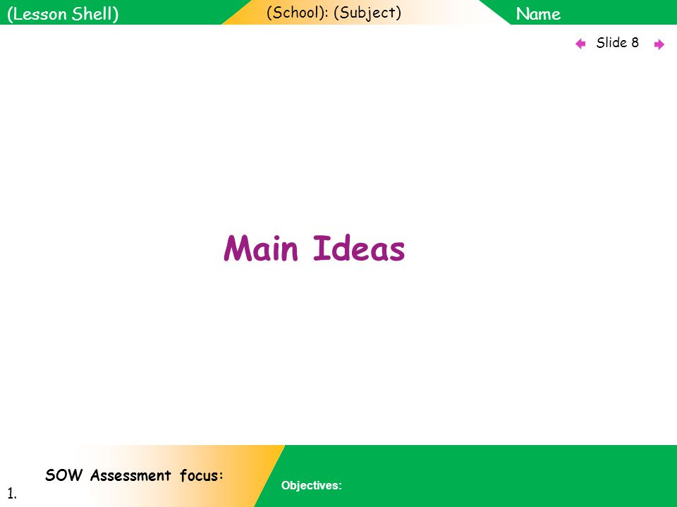 (School): (Subject) Name Objectives: Slide 8 (Lesson Shell) SOW Assessment focus: 1. Main Ideas