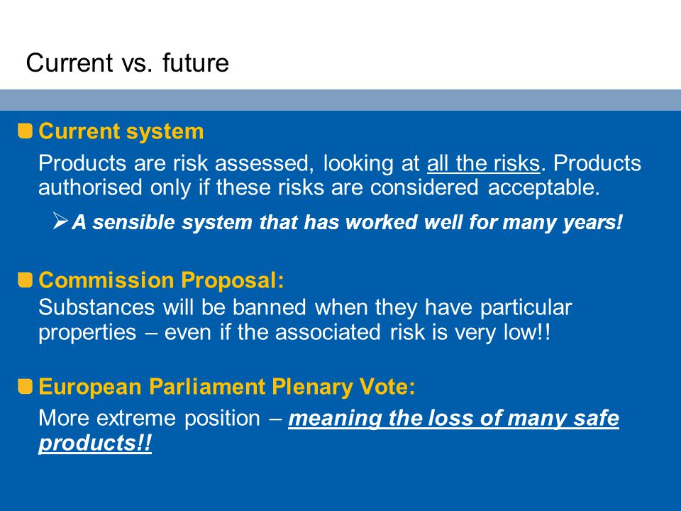 Current vs. future Current system Products are risk assessed, looking at all the risks. Products authorised only if these risks are considered accepta