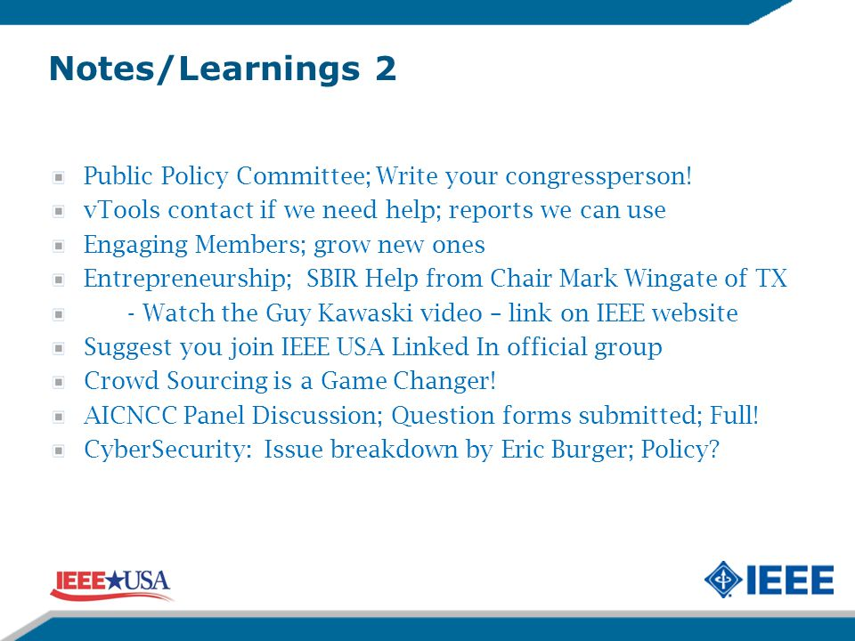 Notes/Learnings 2 Public Policy Committee; Write your congressperson.
