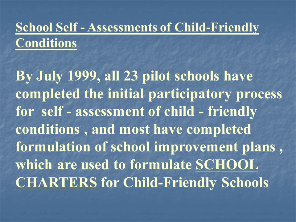 School Self - Assessments of Child-Friendly Conditions By July 1999, all 23 pilot schools have completed the initial participatory process for self - assessment of child - friendly conditions, and most have completed formulation of school improvement plans, which are used to formulate SCHOOL CHARTERS for Child-Friendly Schools