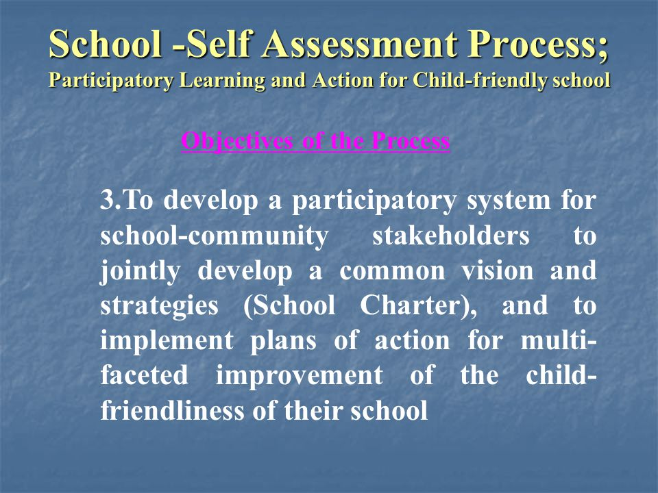 School -Self Assessment Process; Participatory Learning and Action for Child-friendly school Effectiveness of Methods and Technique Effectiveness of Methods and Technique Selection and Representation of Participants Selection and Representation of Participants 1.Participants were generally satisfied with the selection and representation of members of the various stakeholder groups of the school-community.