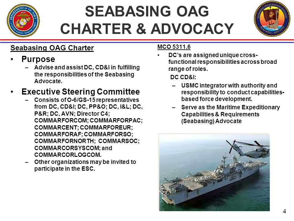 SEABASING OAG CHARTER & ADVOCACY Seabasing OAG Charter Purpose –Advise and assist DC, CD&I in fulfilling the responsibilities of the Seabasing Advocate.