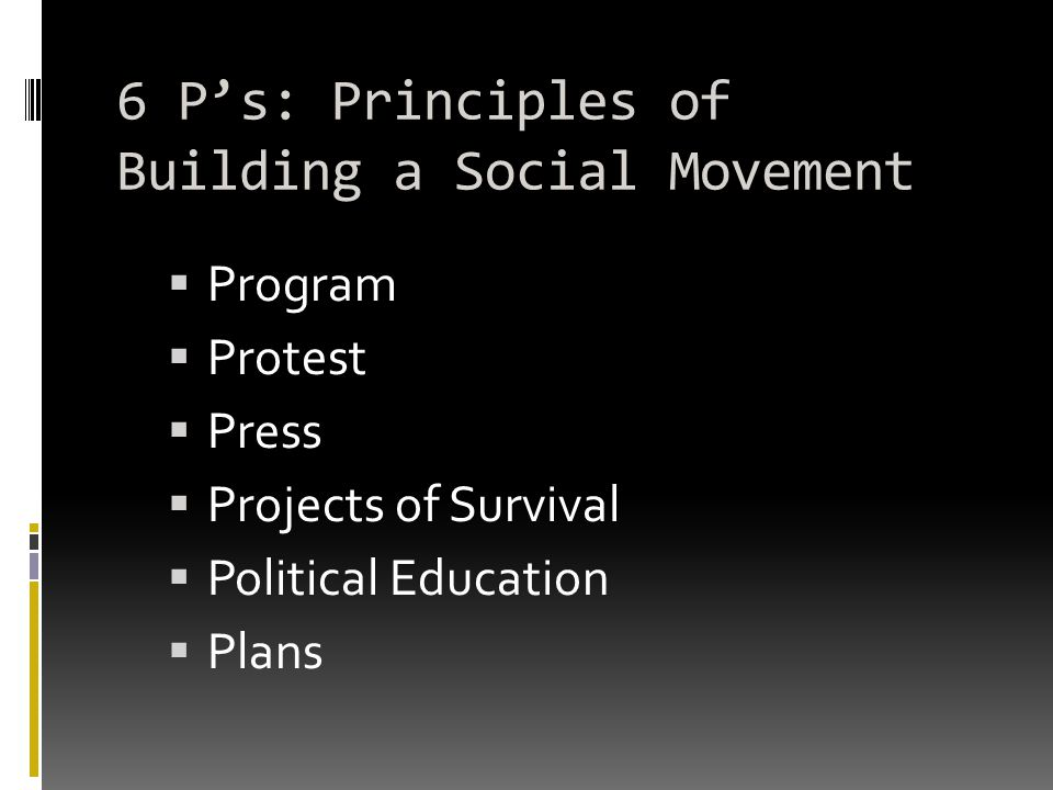 6 P's: Principles of Building a Social Movement  Program  Protest  Press  Projects of Survival  Political Education  Plans