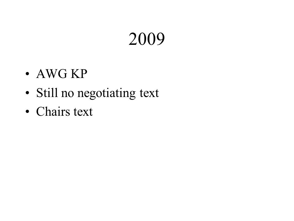 2009 AWG KP Still no negotiating text Chairs text