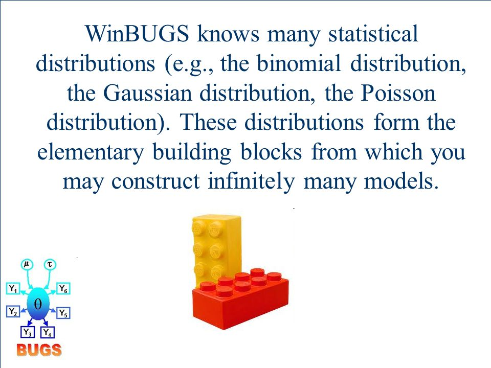 WinBUGS knows many statistical distributions (e.g., the binomial distribution, the Gaussian distribution, the Poisson distribution).