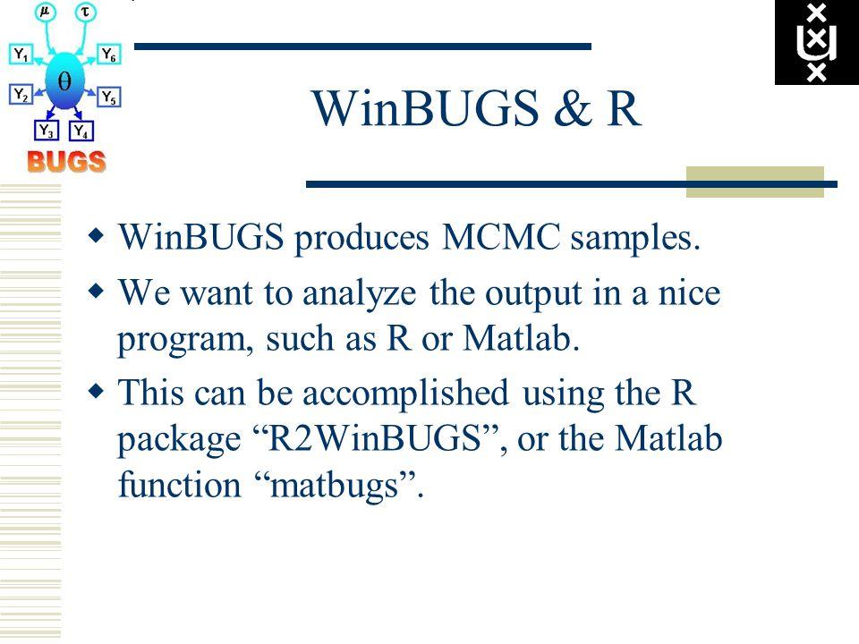 WinBUGS & R  WinBUGS produces MCMC samples.