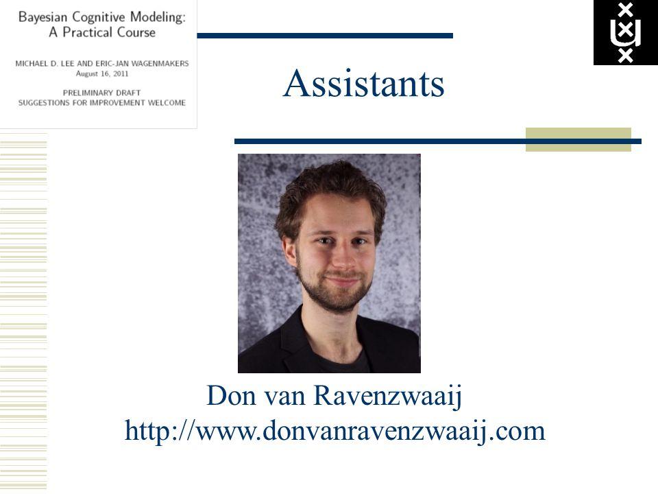 Assistants Don van Ravenzwaaij http://www.donvanravenzwaaij.com