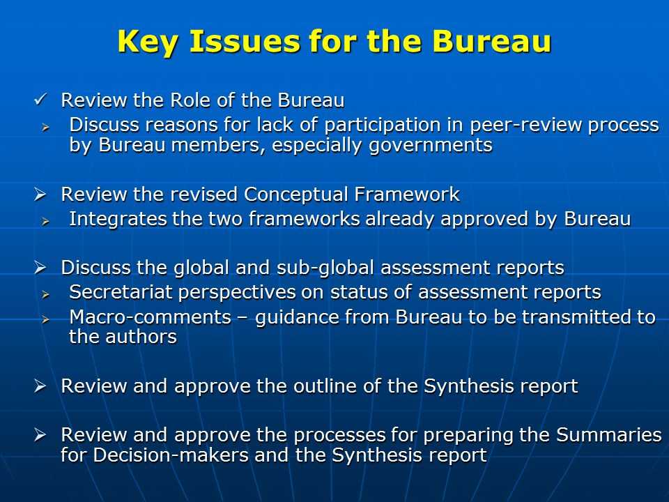 General Comments Overall Analysis: Much of the material is a review or a history – a major challenge is to transform it into an assessment with options for action Overall Analysis: Much of the material is a review or a history – a major challenge is to transform it into an assessment with options for action Some global chapter author teams have recently been strengthened – others, chapters 8 and 9 still need additional expertise Some global chapter author teams have recently been strengthened – others, chapters 8 and 9 still need additional expertise Material in some chapters is relevant and good but in the wrong chapter (e.g.