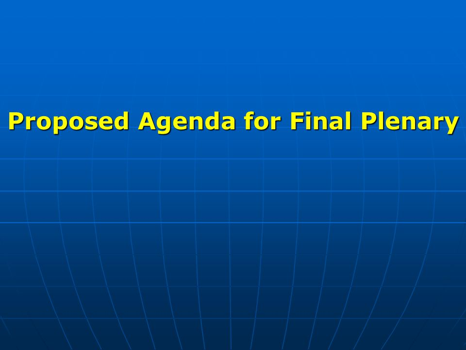 Proposed Agenda for Final Plenary