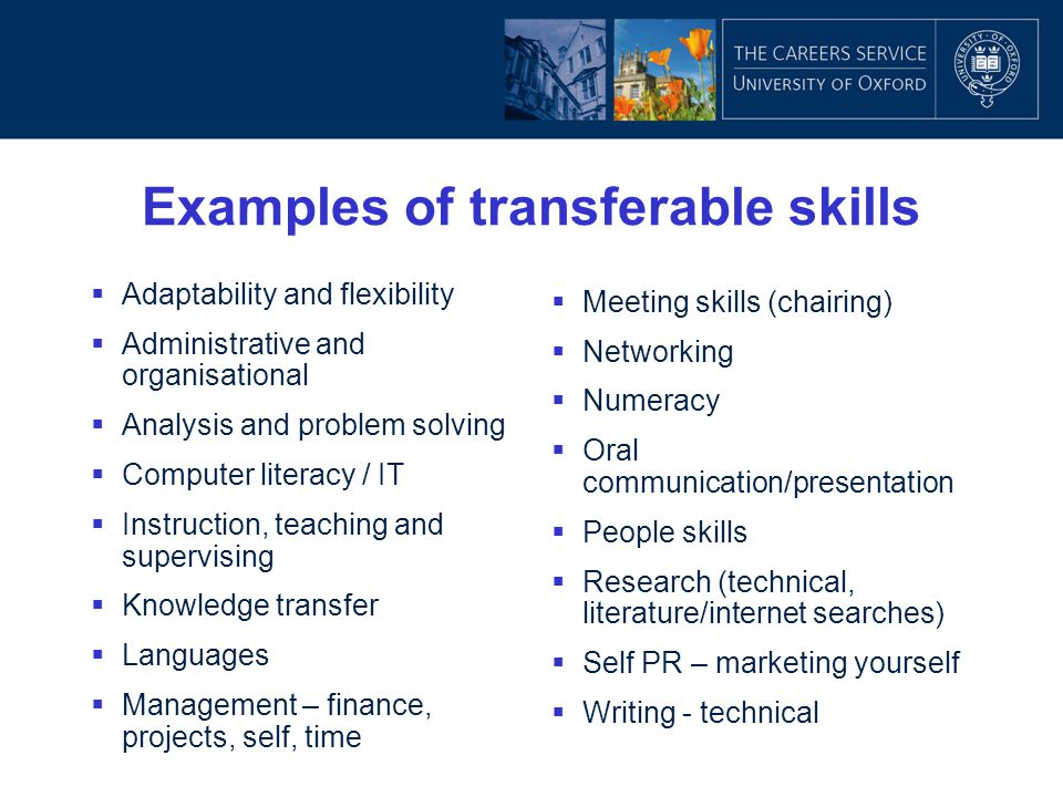 Examples of transferable skills  Adaptability and flexibility  Administrative and organisational  Analysis and problem solving  Computer literacy