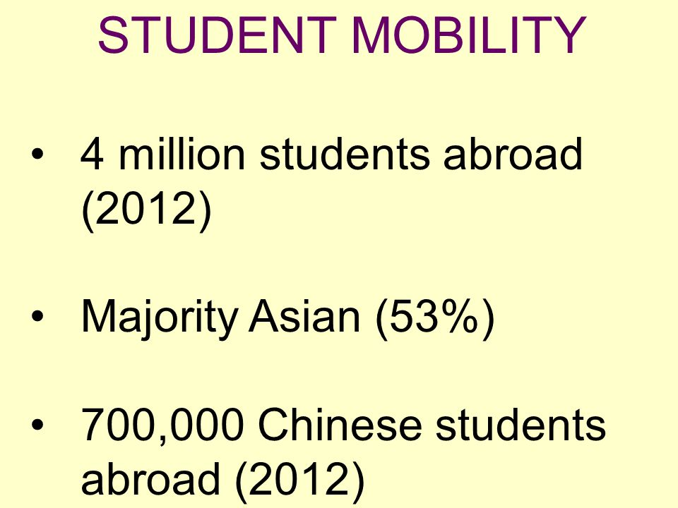 4 million students abroad (2012) Majority Asian (53%) 700,000 Chinese students abroad (2012)