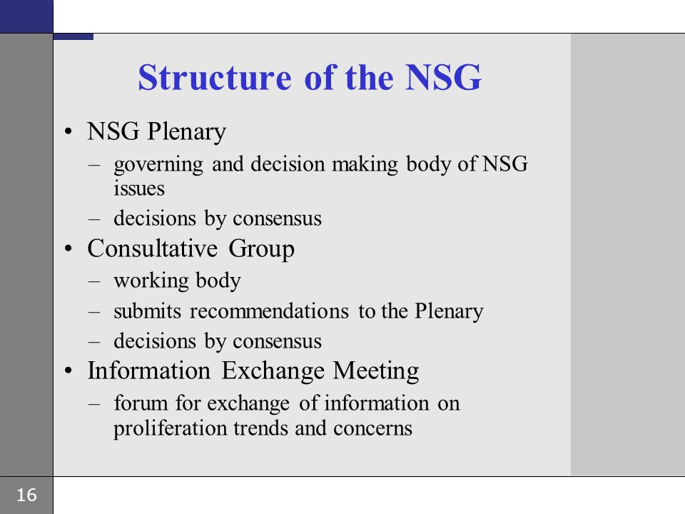 16 Structure of the NSG NSG Plenary –governing and decision making body of NSG issues –decisions by consensus Consultative Group –working body –submit