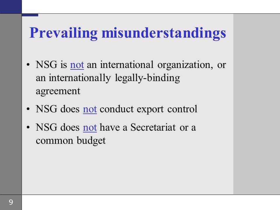 9 Prevailing misunderstandings NSG is not an international organization, or an internationally legally-binding agreement NSG does not conduct export c