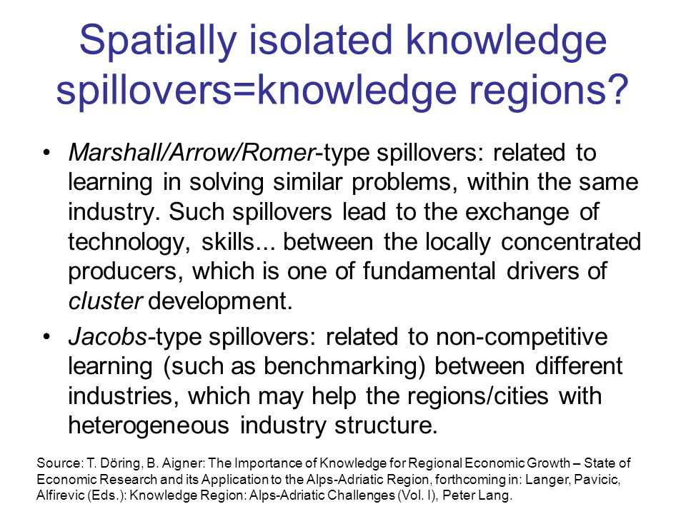Spatially isolated knowledge spillovers=knowledge regions.