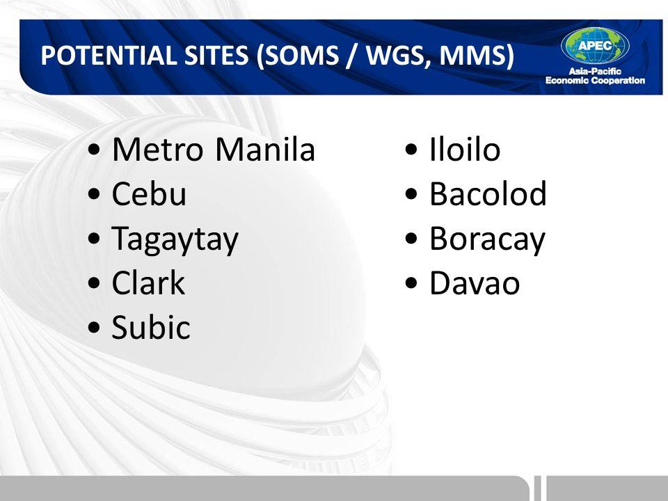 POTENTIAL SITES (SOMS / WGS, MMS) Metro Manila Cebu Tagaytay Clark Subic Iloilo Bacolod Boracay Davao