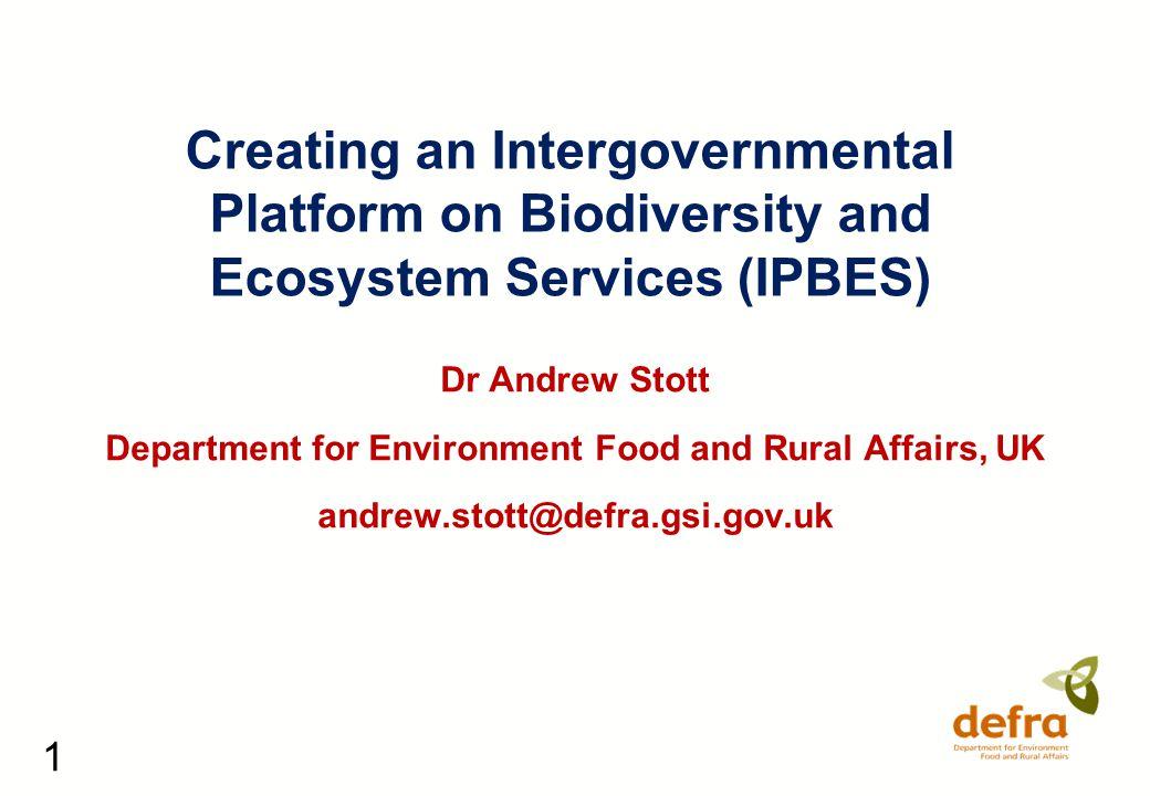22 Thanks for listening Dr Andrew Stott Department for Environment Food and Rural Affairs, UK andrew.stott@defra.gsi.gov.uk