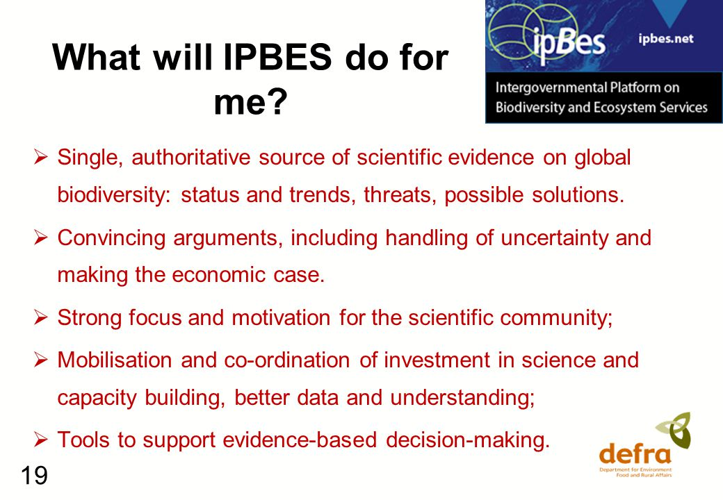 19 What will IPBES do for me.