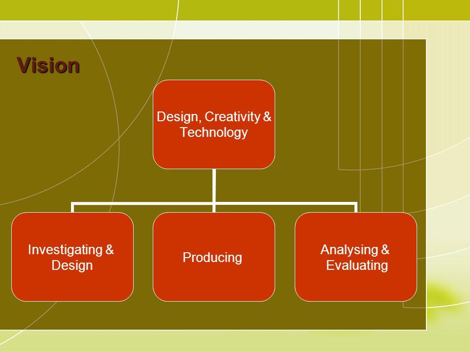 Vision Design, Creativity & Technology Investigating & Design Producing Analysing & Evaluating