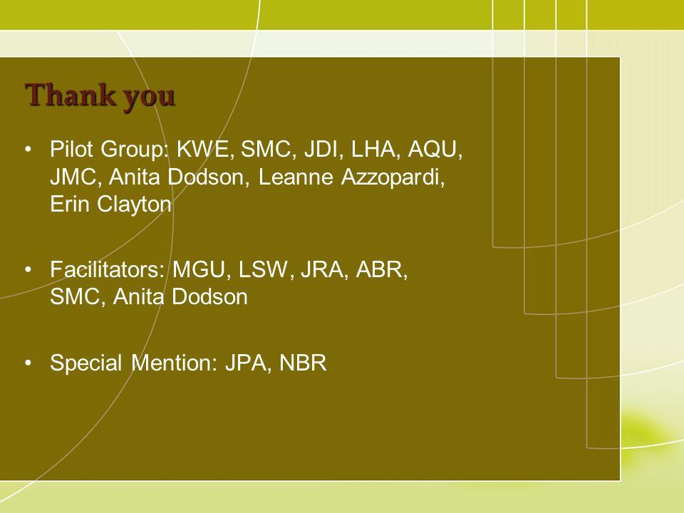 Thank you Pilot Group: KWE, SMC, JDI, LHA, AQU, JMC, Anita Dodson, Leanne Azzopardi, Erin Clayton Facilitators: MGU, LSW, JRA, ABR, SMC, Anita Dodson Special Mention: JPA, NBR