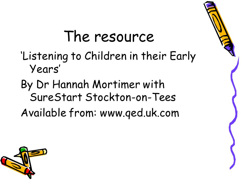 The resource 'Listening to Children in their Early Years' By Dr Hannah Mortimer with SureStart Stockton-on-Tees Available from: www.qed.uk.com