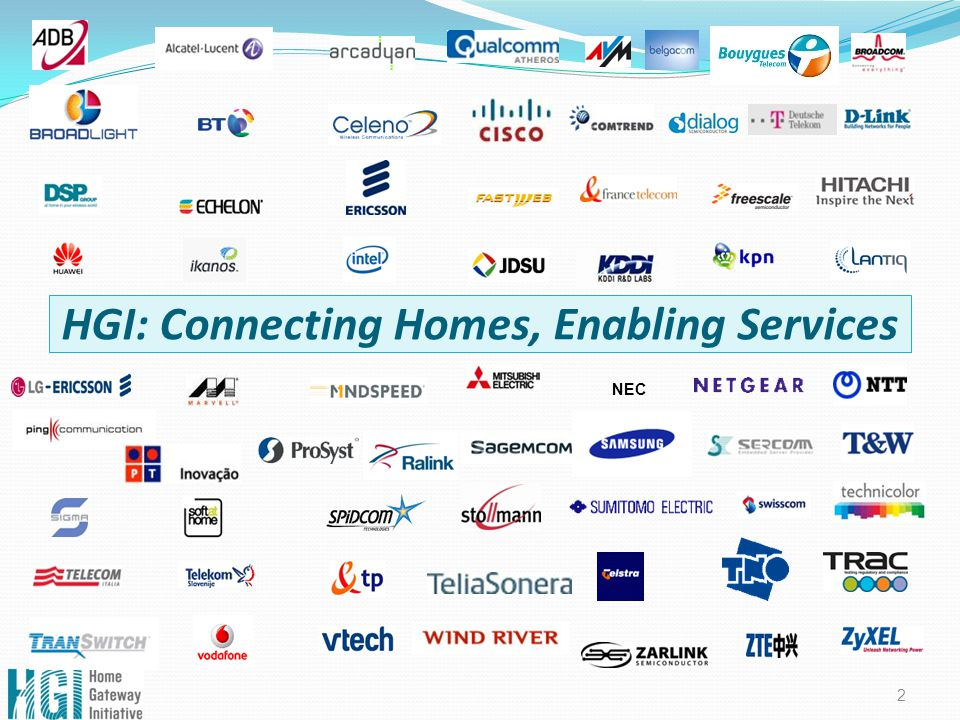 HGI: Connecting Homes, Enabling Services 2 NEC