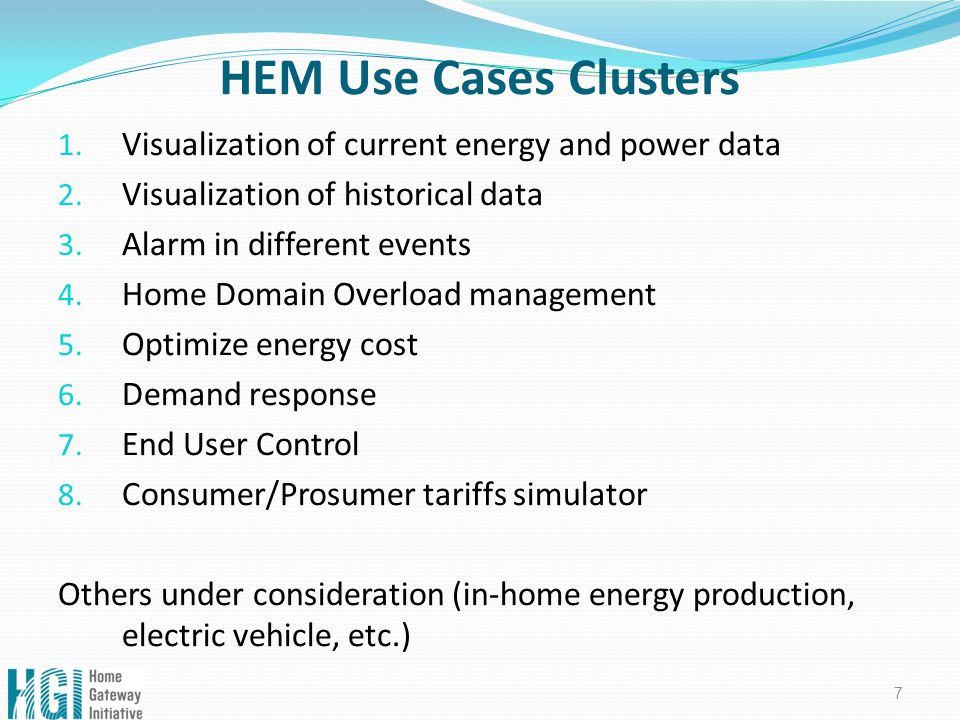 HEM Use Cases Clusters 1. Visualization of current energy and power data 2.