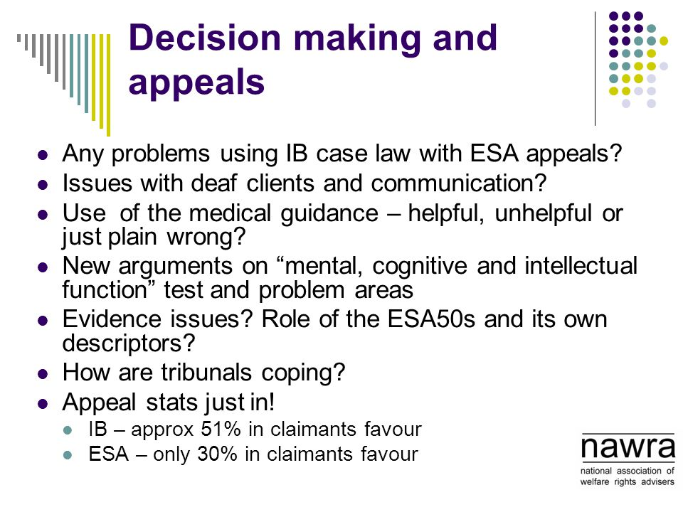 Decision making and appeals Any problems using IB case law with ESA appeals? Issues with deaf clients and communication? Use of the medical guidance –