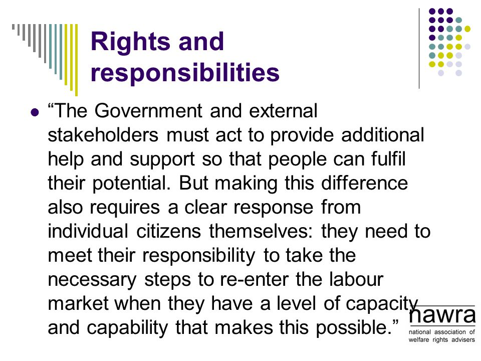 "Rights and responsibilities ""The Government and external stakeholders must act to provide additional help and support so that people can fulfil their"