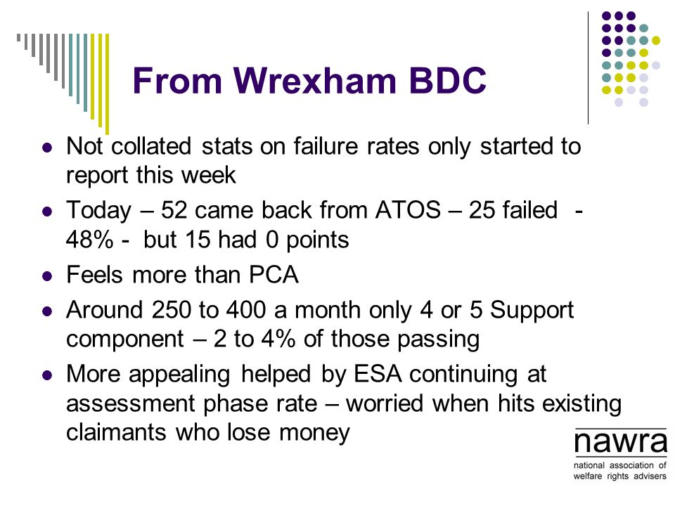 From Wrexham BDC Not collated stats on failure rates only started to report this week Today – 52 came back from ATOS – 25 failed - 48% - but 15 had 0 points Feels more than PCA Around 250 to 400 a month only 4 or 5 Support component – 2 to 4% of those passing More appealing helped by ESA continuing at assessment phase rate – worried when hits existing claimants who lose money