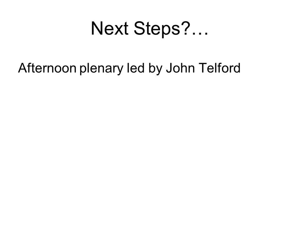Next Steps … Afternoon plenary led by John Telford