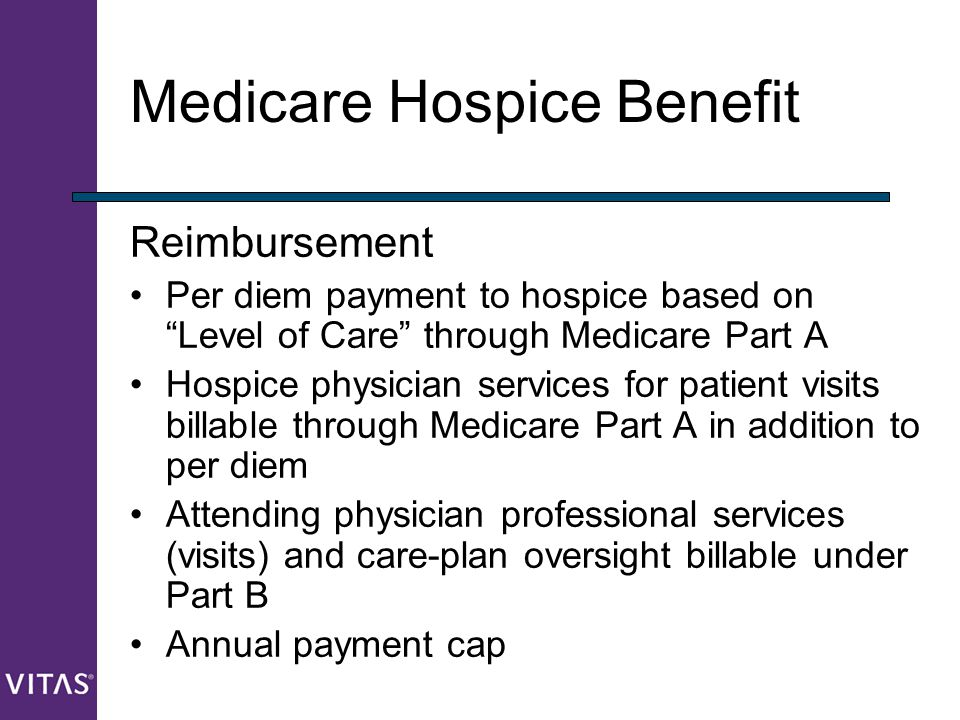 """Medicare Hospice Benefit Reimbursement Per diem payment to hospice based on """"Level of Care"""" through Medicare Part A Hospice physician services for pat"""