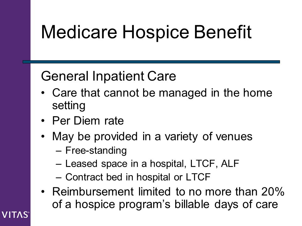 Medicare Hospice Benefit General Inpatient Care Care that cannot be managed in the home setting Per Diem rate May be provided in a variety of venues –