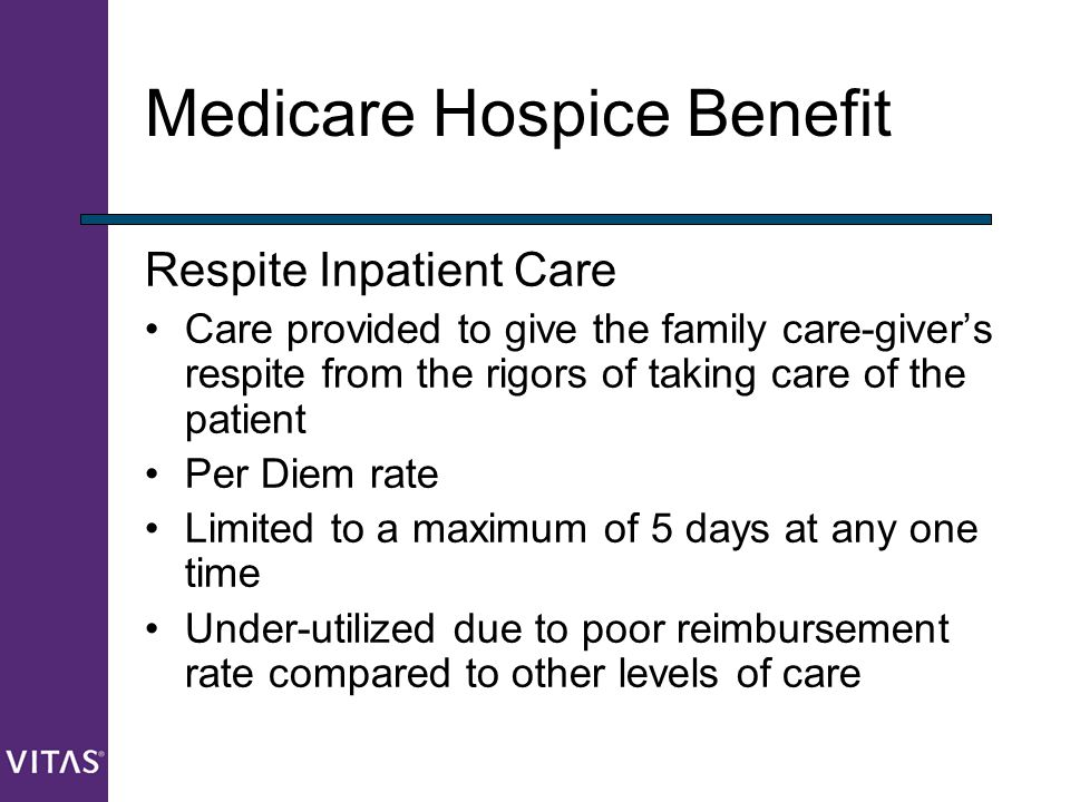 Medicare Hospice Benefit Respite Inpatient Care Care provided to give the family care-giver's respite from the rigors of taking care of the patient Pe