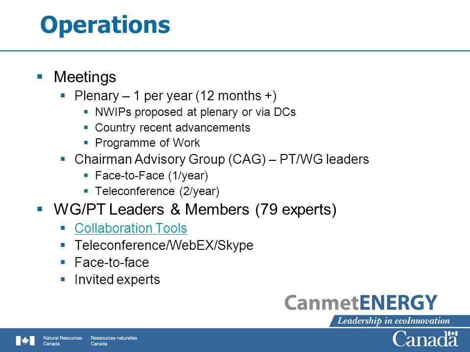 Operations  Meetings  Plenary – 1 per year (12 months +)  NWIPs proposed at plenary or via DCs  Country recent advancements  Programme of Work  Chairman Advisory Group (CAG) – PT/WG leaders  Face-to-Face (1/year)  Teleconference (2/year)  WG/PT Leaders & Members (79 experts)  Collaboration Tools Collaboration Tools  Teleconference/WebEX/Skype  Face-to-face  Invited experts
