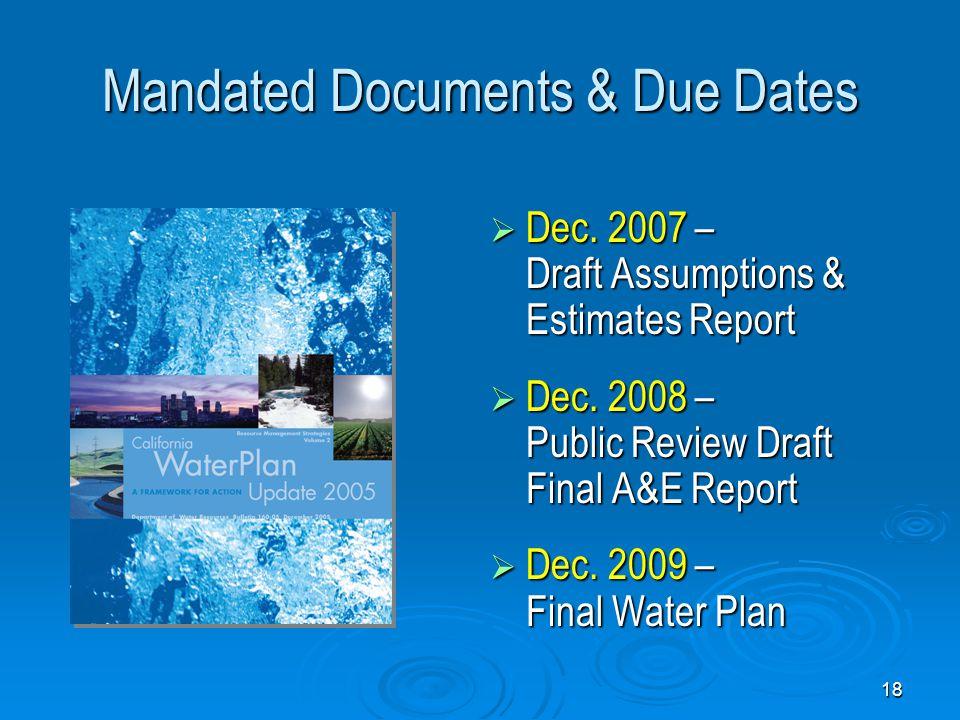 18 Mandated Documents & Due Dates  Dec. 2007 – Draft Assumptions & Estimates Report  Dec.
