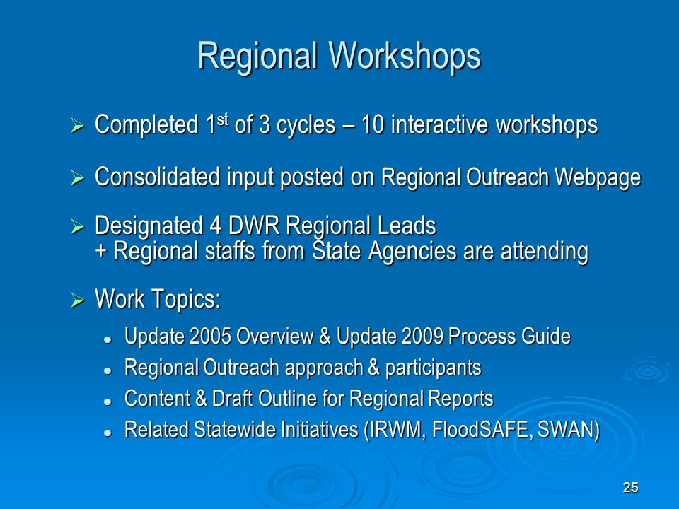 25 Regional Workshops  Completed 1 st of 3 cycles – 10 interactive workshops  Consolidated input posted on Regional Outreach Webpage  Designated 4 DWR Regional Leads + Regional staffs from State Agencies are attending  Work Topics: Update 2005 Overview & Update 2009 Process Guide Update 2005 Overview & Update 2009 Process Guide Regional Outreach approach & participants Regional Outreach approach & participants Content & Draft Outline for Regional Reports Content & Draft Outline for Regional Reports Related Statewide Initiatives (IRWM, FloodSAFE, SWAN) Related Statewide Initiatives (IRWM, FloodSAFE, SWAN)