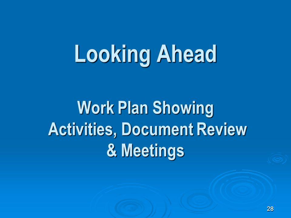 28 Looking Ahead Work Plan Showing Activities, Document Review & Meetings