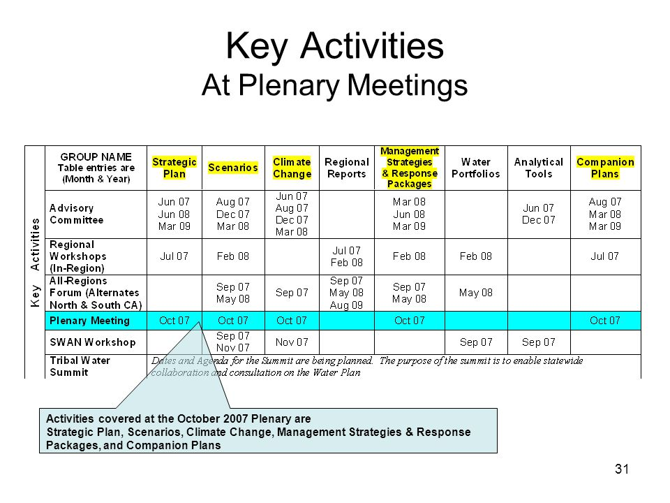 31 Key Activities At Plenary Meetings Activities covered at the October 2007 Plenary are Strategic Plan, Scenarios, Climate Change, Management Strategies & Response Packages, and Companion Plans