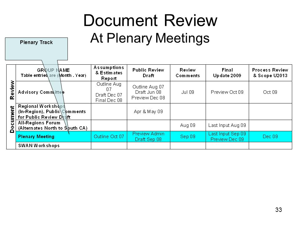 33 Document Review At Plenary Meetings Plenary Track