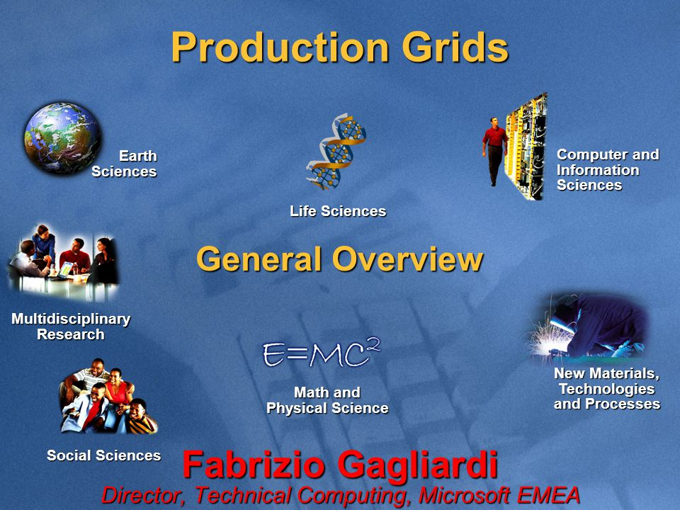 Production Grids Fabrizio Gagliardi Director, Technical Computing, Microsoft EMEA Computer and Information Sciences Life Sciences Multidisciplinary Research Math and Physical Science Earth Sciences General Overview Social Sciences New Materials, Technologies and Processes