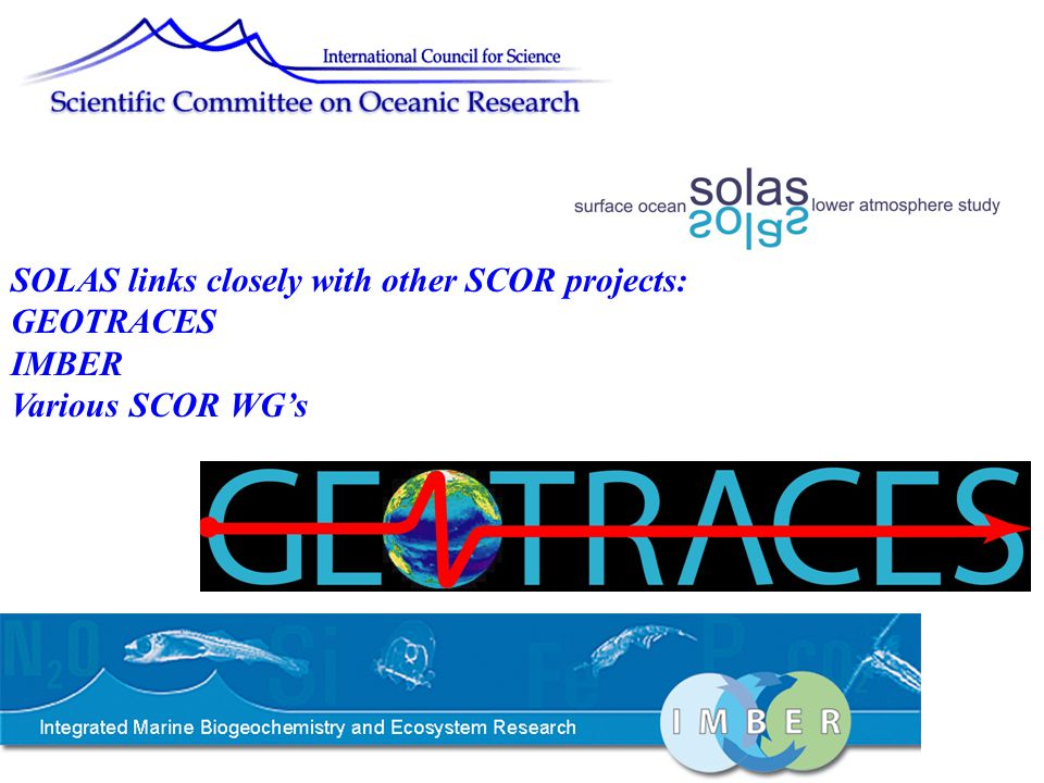 SOLAS links closely with other SCOR projects: GEOTRACES IMBER Various SCOR WG's