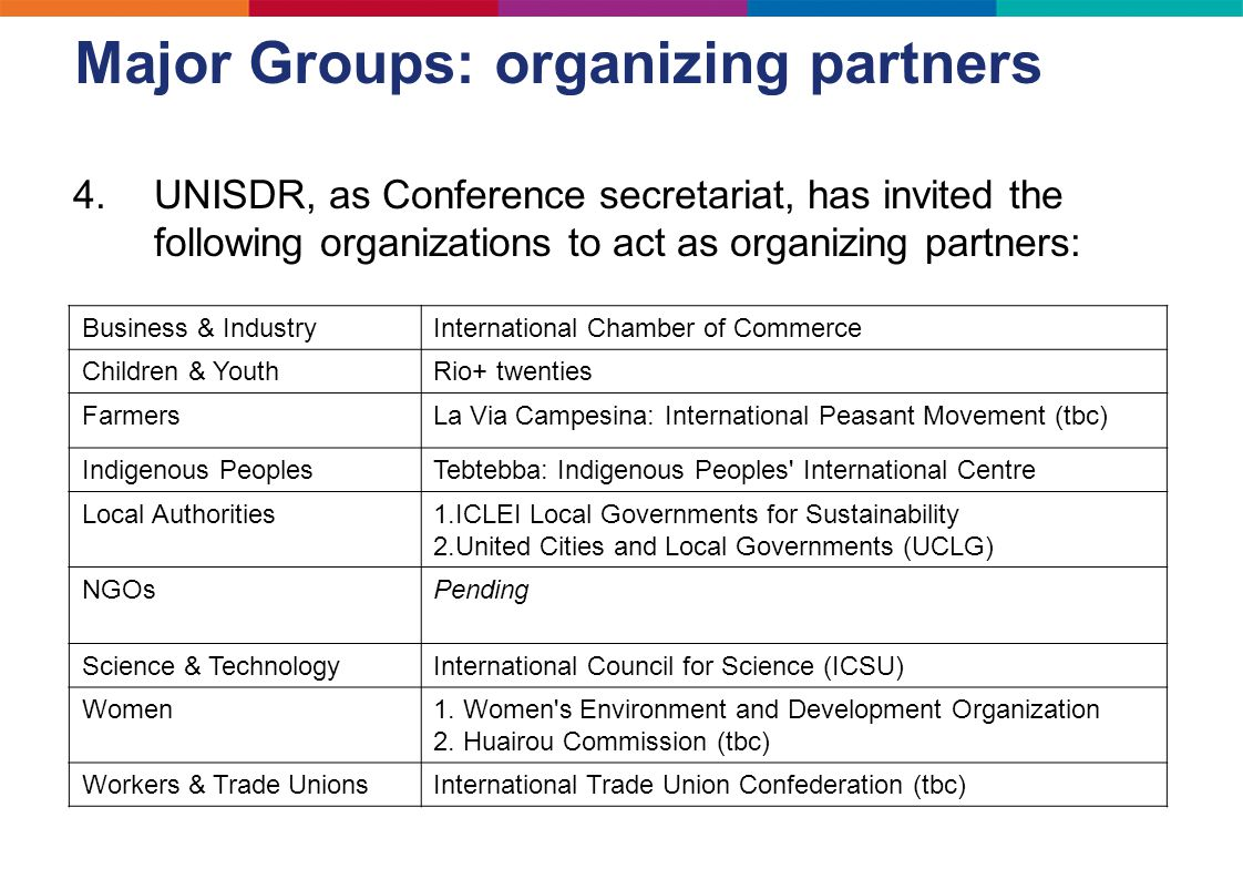 Major Groups: organizing partners 4.UNISDR, as Conference secretariat, has invited the following organizations to act as organizing partners: Business